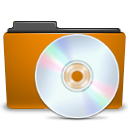 orange folder cd Png Icon