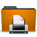 orange folder print Png Icon