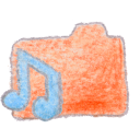 Folder orange music Png Icon