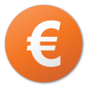 currency euro red png icon